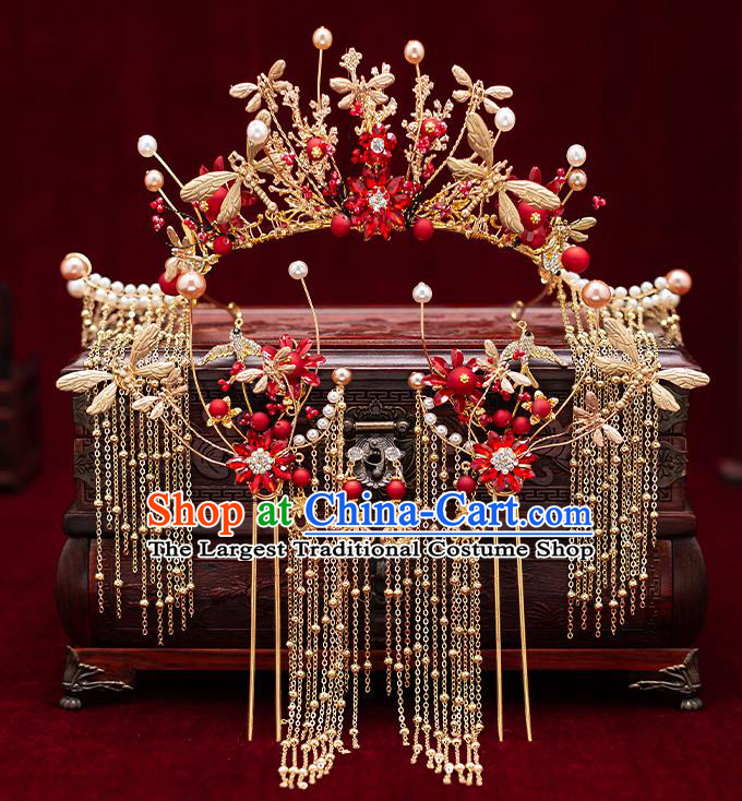 Chinese Handmade Golden Dragonfly Phoenix Coronet Classical Wedding Hair Accessories Ancient Bride Tassel Hairpins Complete Set