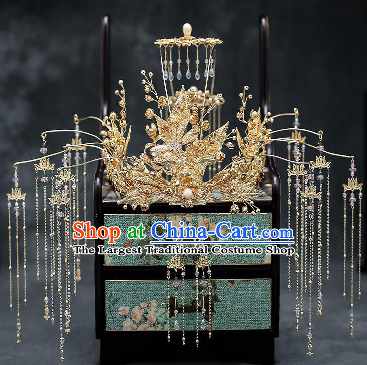 Chinese Handmade Golden Leaf Phoenix Coronet Classical Wedding Hair Accessories Ancient Bride Hairpins Complete Set