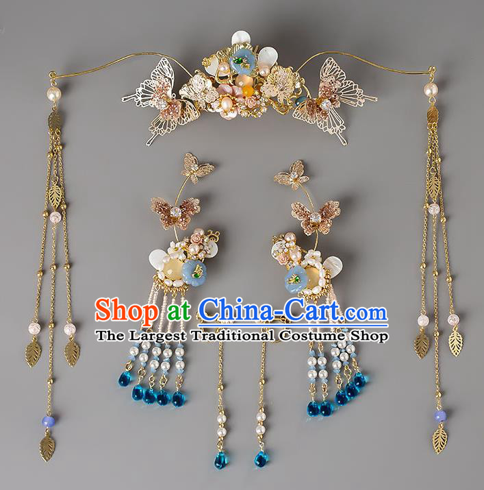 Chinese Handmade Butterfly Hair Crown Classical Wedding Hair Accessories Ancient Bride Hairpins Hair Sticks Complete Set