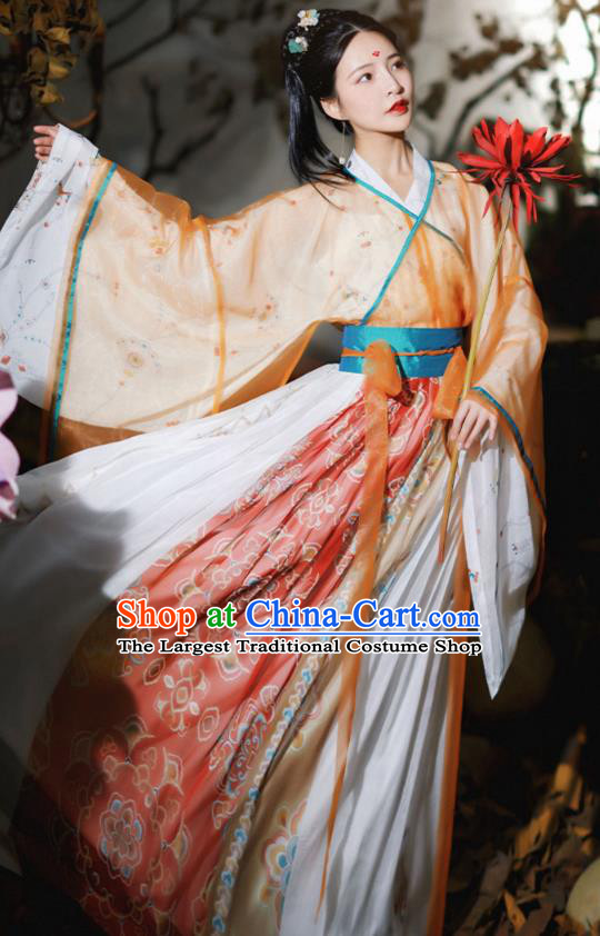 Chinese Traditional Ancient Goddess Hanfu Apparels Jin Dynasty Royal Princess Historical Costumes