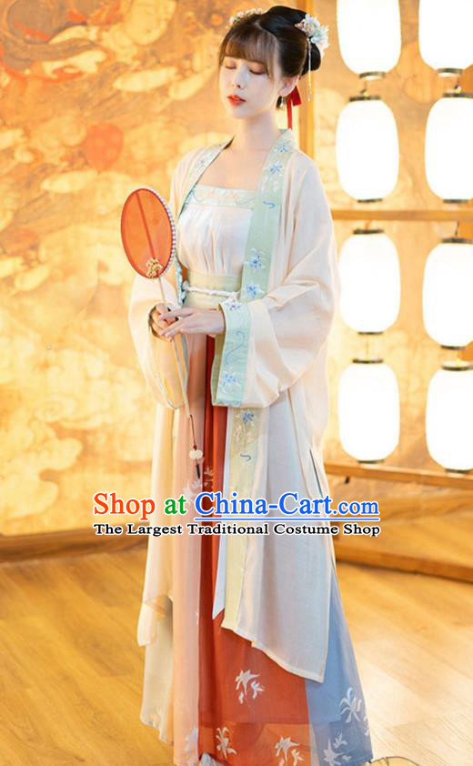 Ancient Chinese Song Dynasty Nobility Lady Historical Costumes Traditional Hanfu Apparels Embroidered BeiZi Top and Skirt Full Set