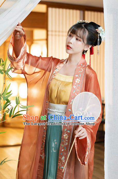 Ancient Chinese Song Dynasty Court Princess Historical Costumes Traditional Embroidered BeiZi Top and Skirt Hanfu Apparels for Women
