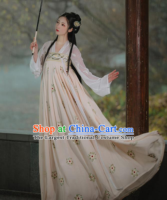 Chinese Traditional Tang Dynasty Princess Costumes Ancient Noble Lady Garment Hanfu Blouse and Apricot Dress Complete Set