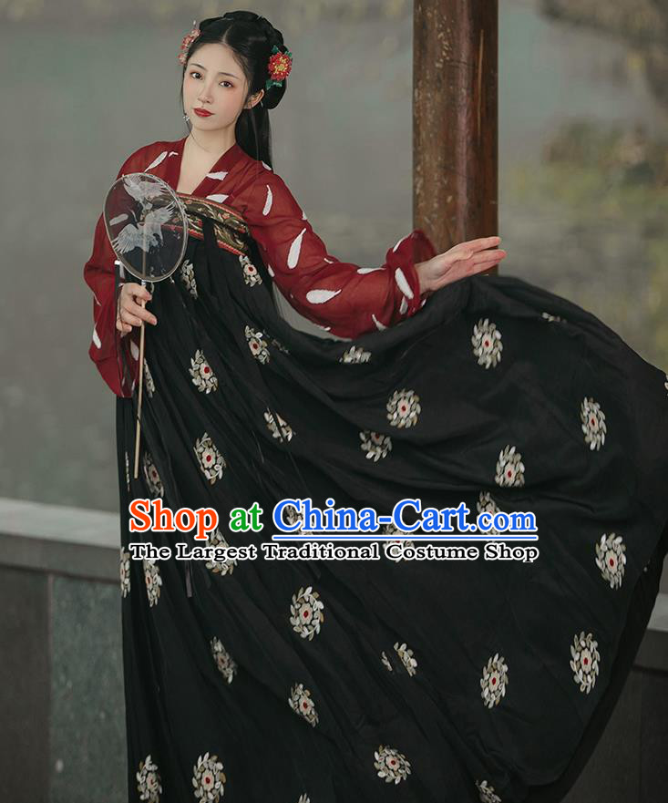 Chinese Traditional Hanfu Red Blouse and Black Dress Ancient Tang Dynasty Princess Garment Costumes Complete Set
