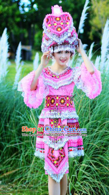 China Miao Ethnic Folk Dance Apparels Minority Stage Performance Costumes Yunnan Nationality Women Pink Short Dress and Headpiece