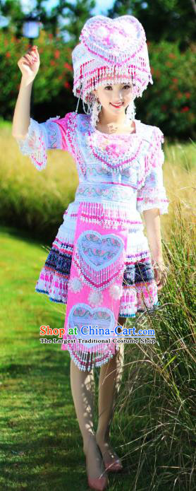 China Yao Nationality Folk Dance Short Dress Ethnic Women Apparels Miao Minority Costumes and Headdress