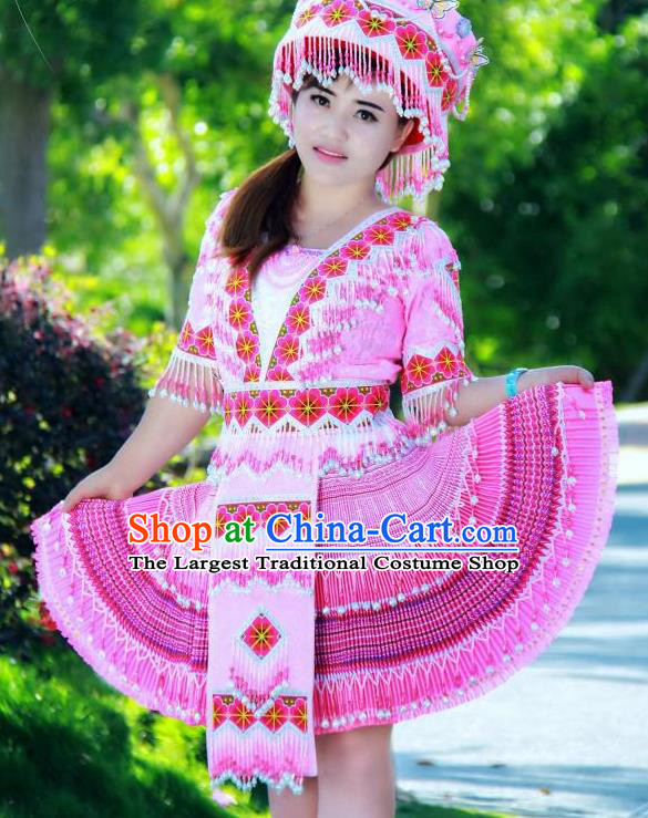 China Ethnic Folk Dance Pink Short Dress Miao Minority Costumes Miao Nationality Women Apparels and Headdress