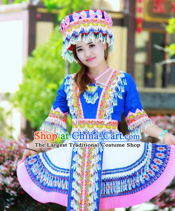 China Miao Ethnic Folk Dance Royalblue Short Dress Minority Nationality Costumes Women Apparels and Headwear