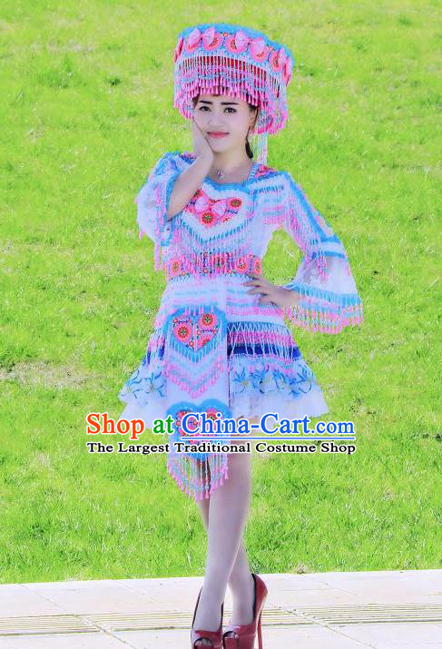 China Yunnan Ethnic Women Short Dress Miao Minority Nationality Costumes Women Folk Dance Apparels with Headpiece
