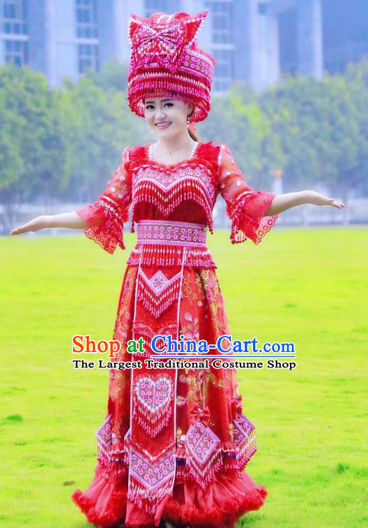 China Ethnic Women Red Wedding Dress Miao Minority Bride Costumes Yunnan Nationality Women Apparels with Headdress