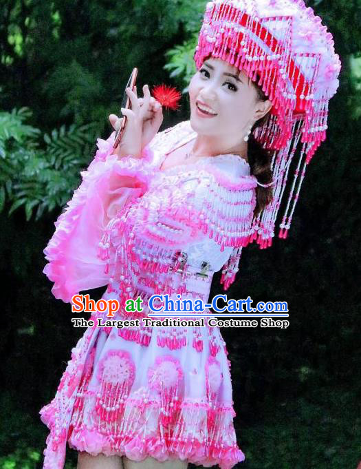 China Yao Ethnic Women Short Dress Yunnan Nationality Women Folk Dance Apparels Miao Minority Costumes with Headwear