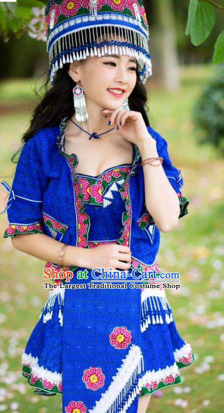 China Ethnic Folk Dance Sexy Short Dress Yunnan Nationality Apparels Miao Minority Women Clothing with Hat