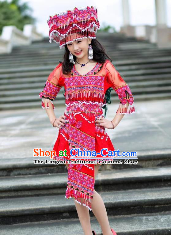 China Ethnic Princess Red Short Dress Miao Minority Women Clothing Yunnan Nationality Apparels with Hat