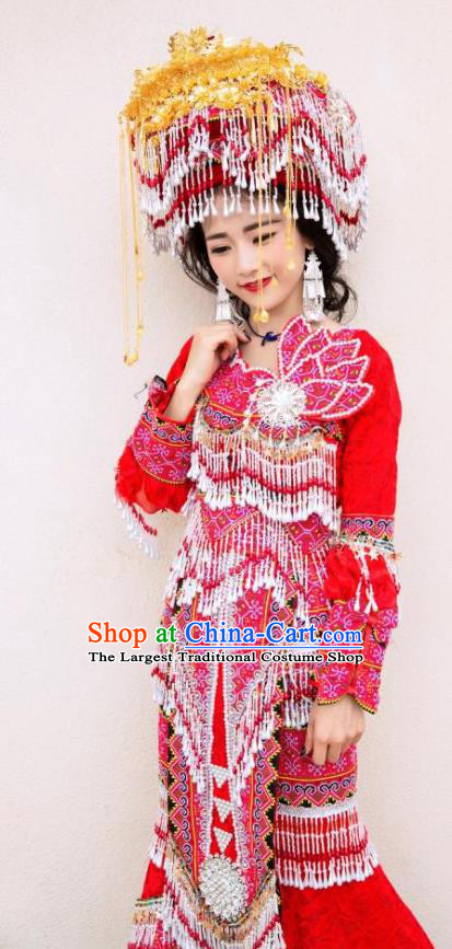 China Ethnic Embroidered Red Dress Miao Minority Wedding Clothing Yunnan Nationality Bride Apparels and Headdress
