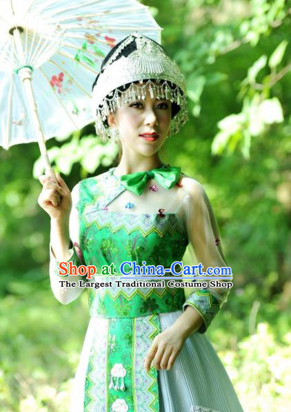 China Guangxi Yao Nationality Folk Dance Apparels Minority Women Clothing Ethnic Green Short Dress and Hat