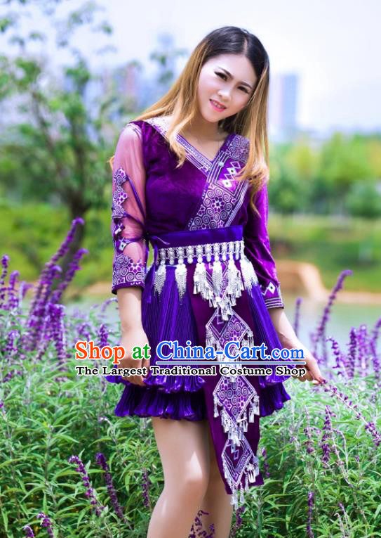 China Miao Minority Folk Dance Clothing Wenshan Ethnic Women Apparels Yunnan Nationality Purple Blouse and Short Skirt with Hat