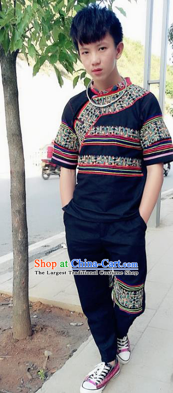 Chinese Ethnic Men Costumes Quality Yi Nationality Embroidered Clothing Shirt and Pants