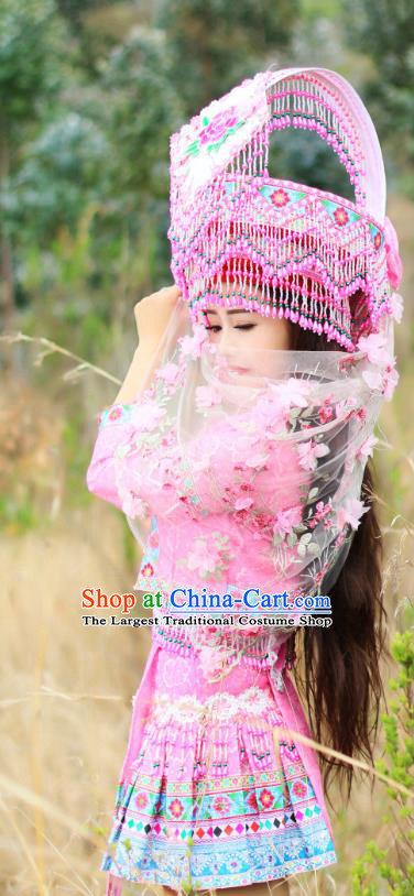 China Nationality Wedding Pink Blouse and Short Skirt Miao Minority Folk Dance Clothing Ethnic Bride Apparels and Headwear