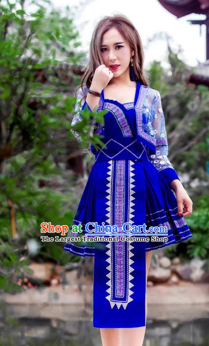 China Miao Nationality Royalblue Velvet Short Dress Minority Folk Dance Clothing Ethnic Women Apparels