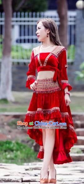 China Ethnic Women Apparels Miao Nationality Red Velvet Blouse and Short Skirt Minority Folk Dance Clothing