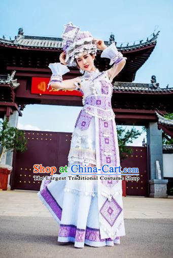China Yunnan Ethnic Women Apparels Miao Nationality Minority Folk Dance Clothing White Long Dress and Hat