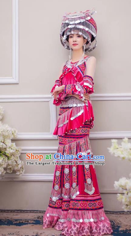 China Guizhou Nationality Bride Apparels Miao Minority Wedding Clothing Ethnic Embroidered Rosy Velvet Long Dress and Headwear