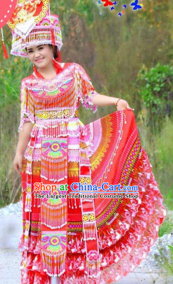 Miao Minority Bride Dresses Women Folk Dance Costume China Miao Ethnic Wedding Apparels and Headdress