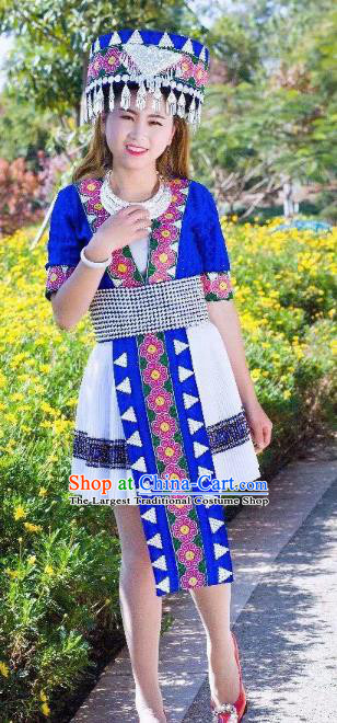China Yunnan Miao Minority Clothing Ethnic Women Folk Dance Apparels and Hat