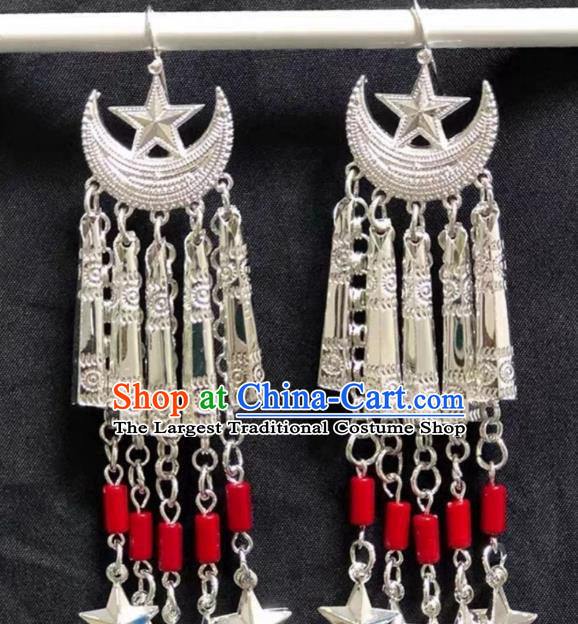 China Miao Nationality Ear Accessories Handmade Ethnic Minority Jewelry Folk Dance Moon Star Earrings