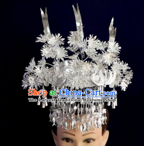 China Miao Nationality Stage Performance Hair Accessories Handmade Ethnic Minority Jewelry Bride Silver Phoenix Coronet