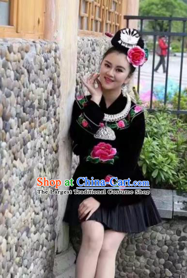 China Traditional Folk Dance Apparels Ethnic Women Clothing Leishan Miao Minority Embroidered Black Blouse and Short Skirt