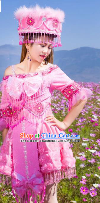 China Minority Folk Dance Costume Yunnan Miao Ethnic Pink Blouse and Short Pleated Skirt with Feather Hat