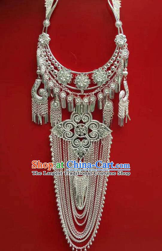 Chinese Miao Minority Jewelry Yunnan Nationality Wedding Accessories Ethnic Long Tassel Necklace