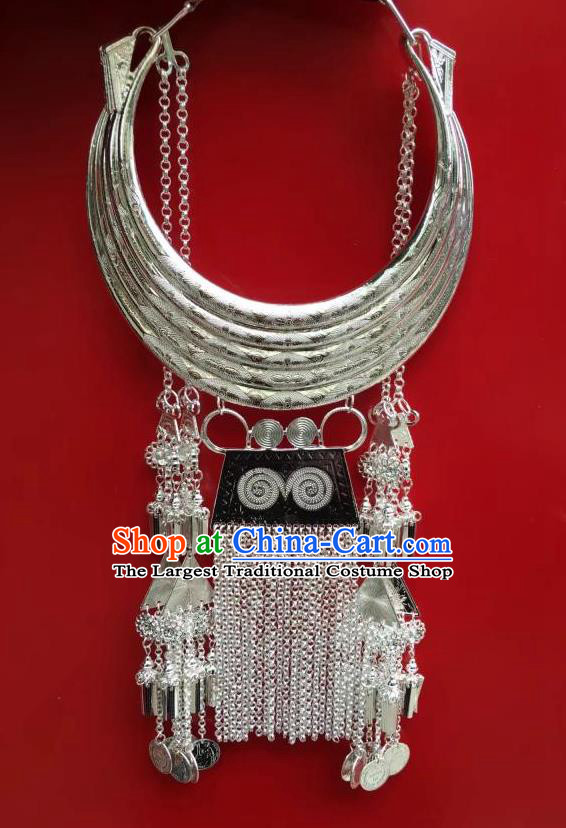Chinese Miao Ethnic Bride Jewelry Handmade Longevity Lock Accessories Yunnan Nationality Silver Carving Necklace