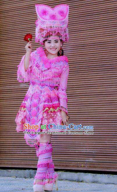 Custom Yunnan Ethnic Wedding Dress Top Quality China Miao Minority Bride Rosy Costume and Hat for Women