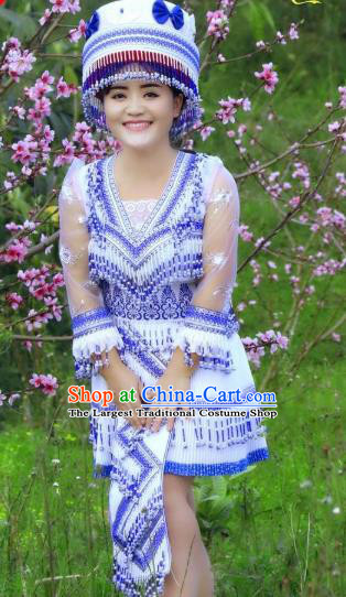 China Wenshan Miao Ethnic Beauty Apparels Minority Women Costume Folk Dance Blouse and Short Skirt with Hat