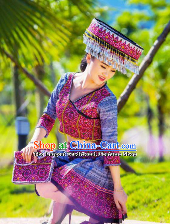 China Traditional Miao Minority Clothing Women Apparels Ethnic Folk Dance Blouse and Skirt with Hat