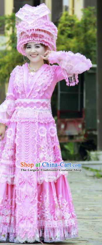 Miao Minority Bride Pink Dress China Traditional Ethnic Clothing Women Folk Dance Apparels with Headwear