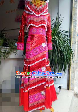 Traditional China Miao Minority Women Red Dress Hmong Bride Costumes Yunnan Mengzi Ethnic Clothing and Hat