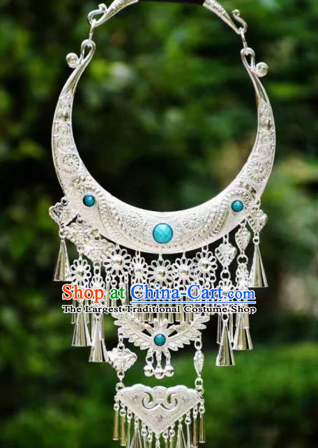 Chinese Blue Necklet Yunnan Minority Accessories Miao Nationality Ethnic Necklace