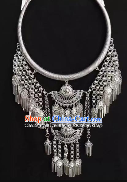 Handmade Women Jewelry Chinese Yunnan Miao Minority Silver Necklace Accessories National Necklet