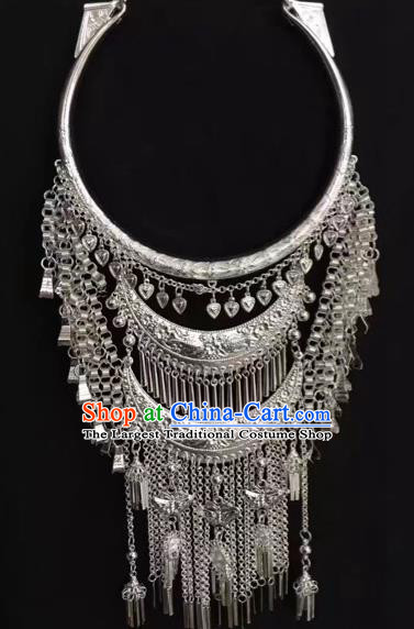 Handmade Chinese National Necklet Yunnan Miao Minority Silver Tassel Necklace Accessories Women Jewelry