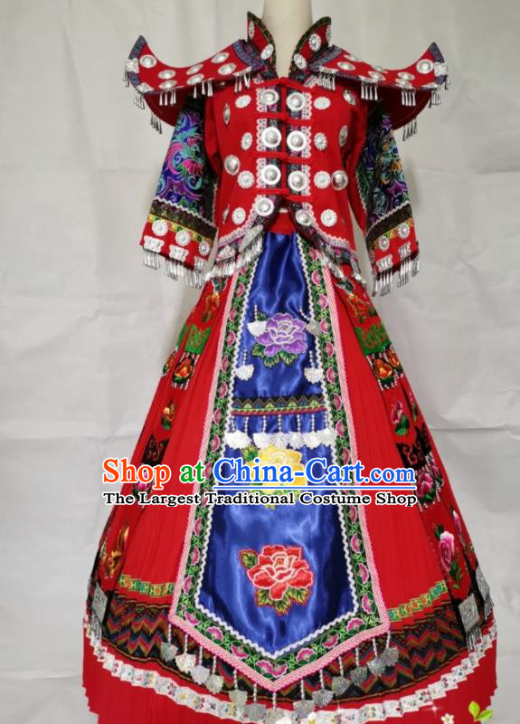 China Miao Ethnic Wedding Apparels Miao Nationality Clothing Yunnan Hmong Minority Embroidered Red Dress