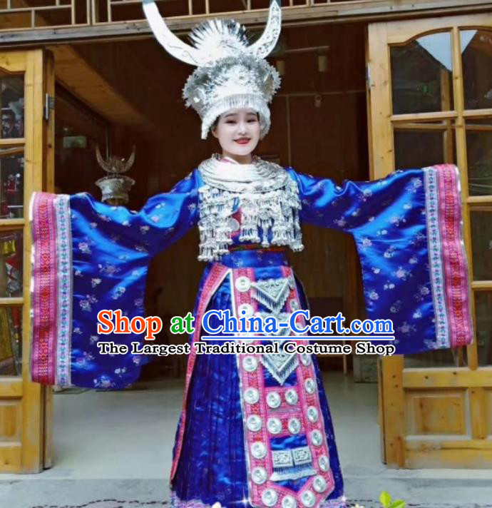 China Miao Ethnic Celebration Apparels Hmong Minority Wedding Embroidered Royalblue Dress Miao Nationality Bride Clothing and Headpieces
