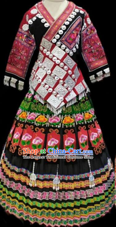 China Minority Traditional Festival Apparels Hmong Embroidered Black Blouse and Skirt Miao Ethnic Celebration Clothing