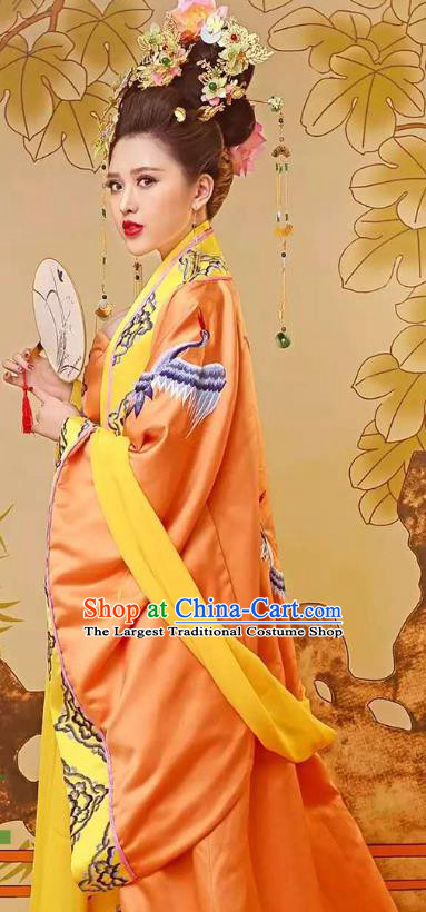 Chinese Tang Dynasty Empress Costumes Ancient Imperial Consort Yellow Hanfu Dress Embroidered Court Clothing and Headpieces