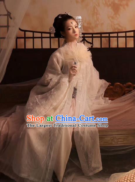 Chinese Ancient Goddess White Hanfu Dress Traditional Jin Dynasty Royal Princess Costumes and Hair Accessories
