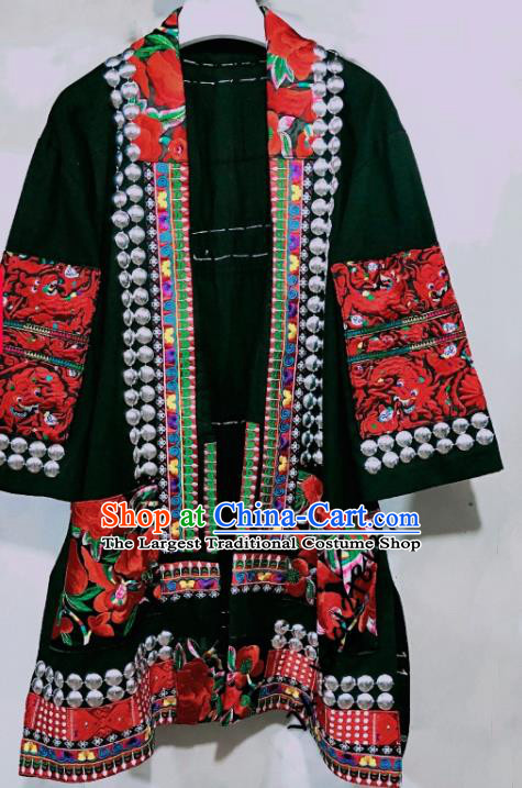 Chinese Miao Ethnic Men Embroidered Coat Costumes Quality Miao Nationality Folk Dance Clothing