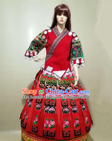 China Traditional Hmong Women Apparels Embroidered Red Blouse and Skirt Miao Nationality Minority Folk Dance Costumes Ethnic Wedding Clothing