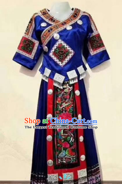 China Embroidered Royalblue Blouse and Skirt Ethnic Clothing Traditional Hmong Women Apparels Miao Nationality Minority Folk Dance Costumes
